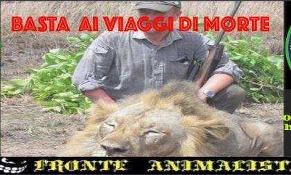 Animalisti davanti alla sede dell'associazione di cacciatori