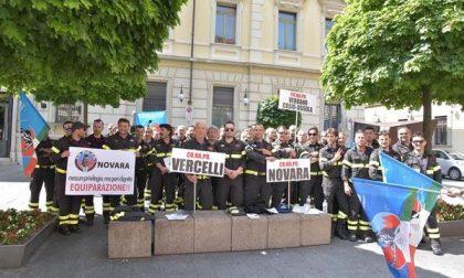 Anche i Vigili del fuoco biellesi alla protesta a Novara