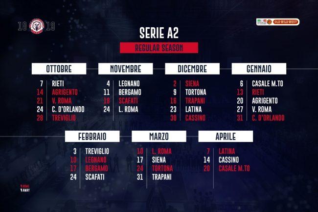 Pallacanestro Biella: il calendario della stagione 2018/2019 di A2 Ovest