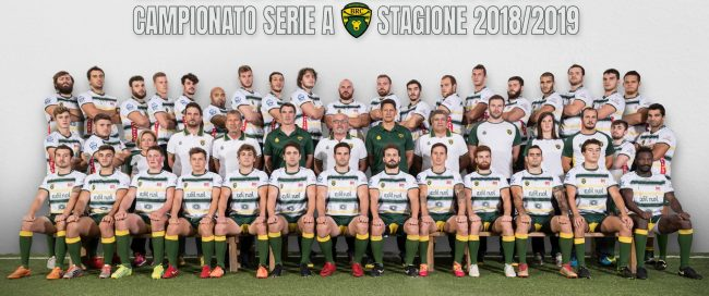 La rosa dei giocatori e lo staff dell'Edilnol Biella Rugby 2018/2019