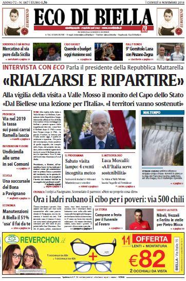 Prima pagina Eco di Biella 8 novembre 2018 intervista Mattarella
