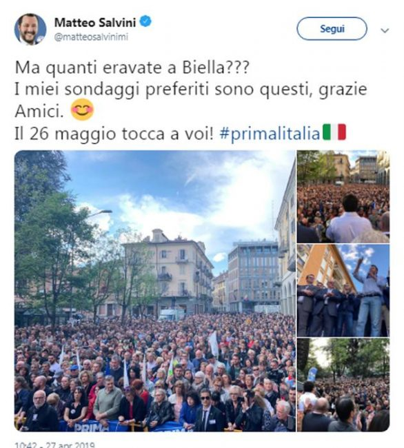 Salvini sul suo profilo Twitter dopo il comizio a Biella