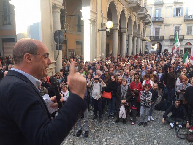 Zingaretti parla a Biella, ma non &#8220&#x3B;scalda&#8221&#x3B; come Salvini FOTO