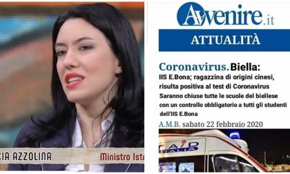 La cantonata della Ministra Azzolina che in diretta tv scredita i giornali di Biella
