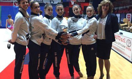 Le ginnaste Camilla Ferraris, Cecilia Medri, Alice Livelli, Virginia Spicuglia e Noemi Nania Campionesse regionali