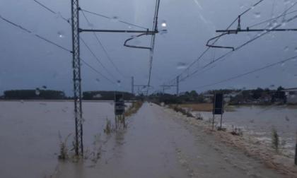 La linea ferroviaria Torino Milano è sott'acqua
