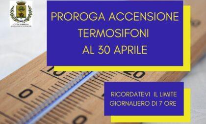 Biella: caldaie accese fino al prossimo 30 aprile