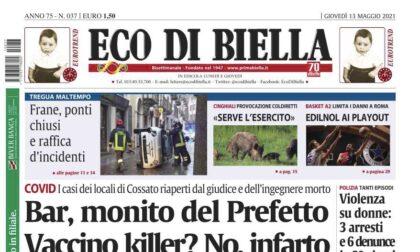 Eco di Biella oggi in edicola con tutte le esclusive