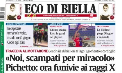 Oggi in edicola Eco di Biella, leggi tutte le esclusive