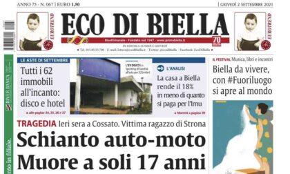 Eco di Biella oggi in edicola con tante esclusive e approfondimenti