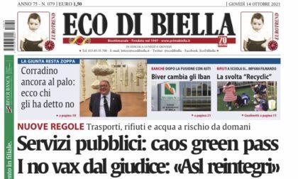 Ecco tutte le notizie esclusive in edicola oggi con Eco di Biella